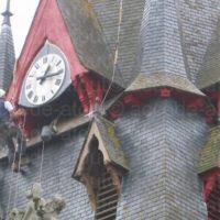 Mise en peinture des pignons et jambages d'abats-son pour l'église de Sérent en Morbihan.