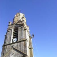 Lavage du clocher de Brech