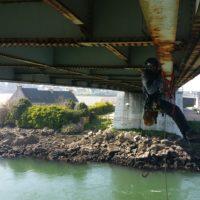 Inspection de sous face de tablier de pont.