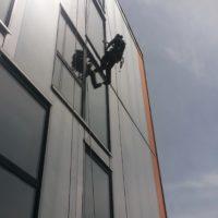 Inspection de façade d'immeuble moderne