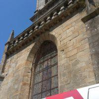 travaux accès difficile cablage projecteurs pour illumination du clocher d'auray