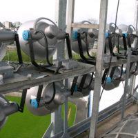 Projecteurs neufs installés sur le stade de Lorient.