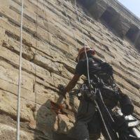 chateau des ducs travaux à la corde sécurisation